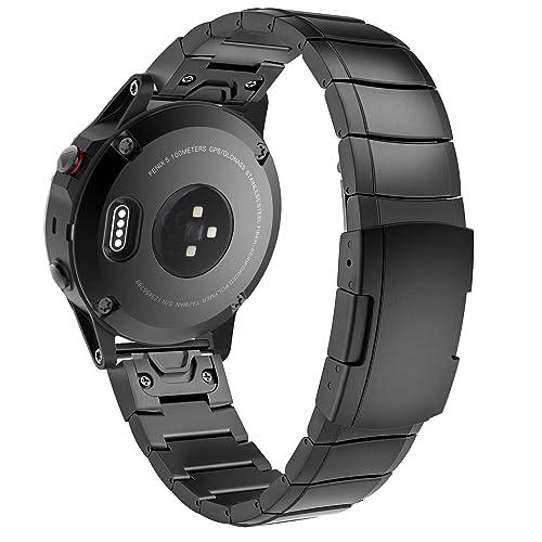 MoKo Bracelet Garmin Fenix 5 Quick Fit 22mm, Bracelet de Remplacement Ajustable en Acier Inoxydable pour Garmin Fenix 5 / Garmin Fenix 5 Plus/Garmin Instinct Smart Watch, Noir