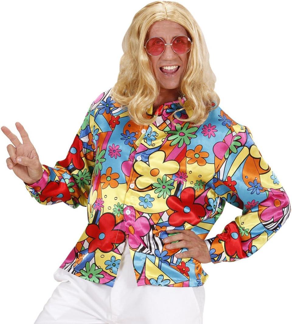 Amakando Camiseta Flores Hombre Camisa Hippie de Colores S 48 ...