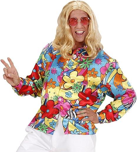 NET TOYS Camisa Hippie de Colores Camiseta Flores Hombre XXL 56 ...