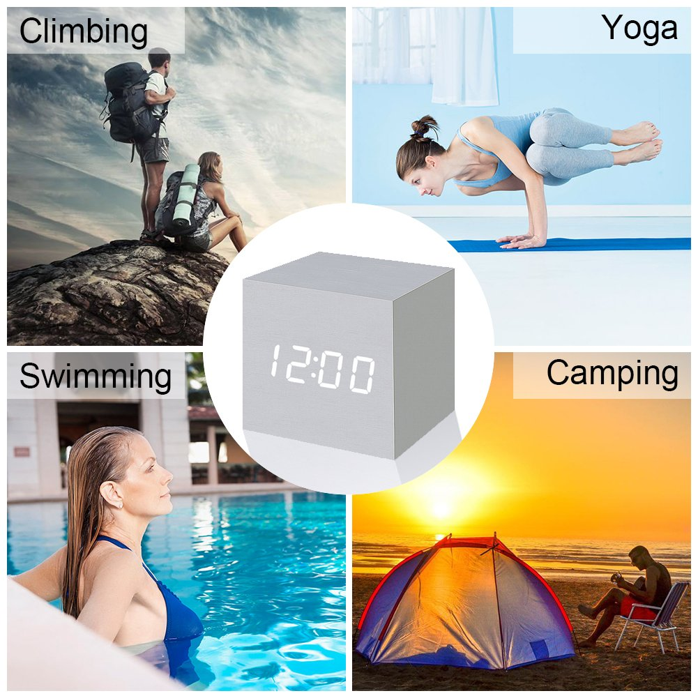 Wood Alarm Clock Digital LED Light Minimalist Mini Cube with Date and Temperature for Travel Kids Bedroom-White by WulaWindy (Image #7)