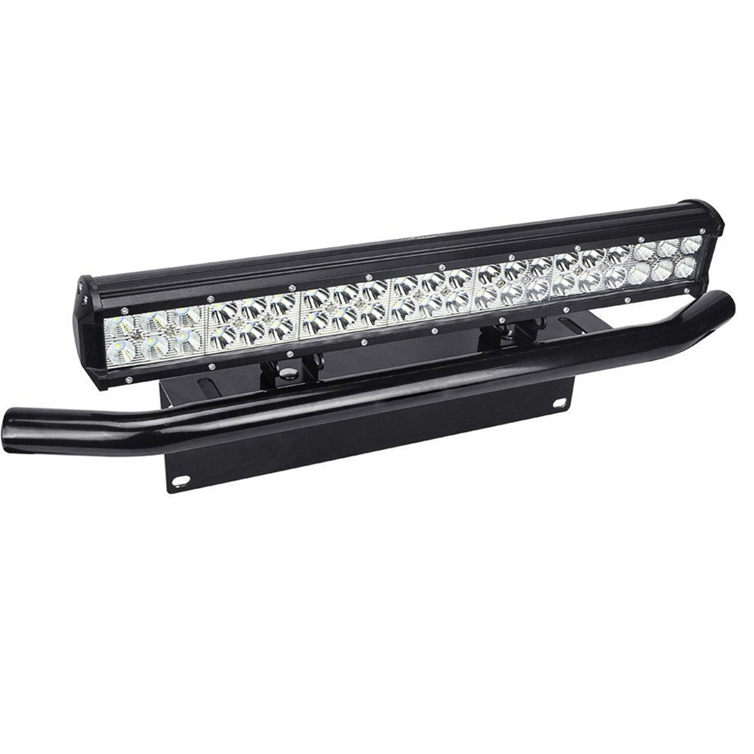 Willpower 20 inch 126W Spot Flood LED Work Light Bar with License Plate Bracket Off road Trucks SUV 4WD Driving Fog Lights (20 inch + BK011)
