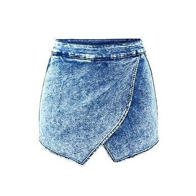 2a9f311bb Jeff Tribble Women High Waist Acid Wash Denim Short Pants Jeans Skirt as  picture 32