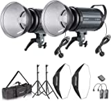 Neewer 600W Photo Studio Strobe Flash and Softbox Lighting Kit: (2)300W Monolight Flash(S-300N),(2)Reflector Bowens Mount,(2)Light Stand,(2)Softbox,(2)Modeling Lamp,(1)RT-16 Wireless Trigger,(1)Bag