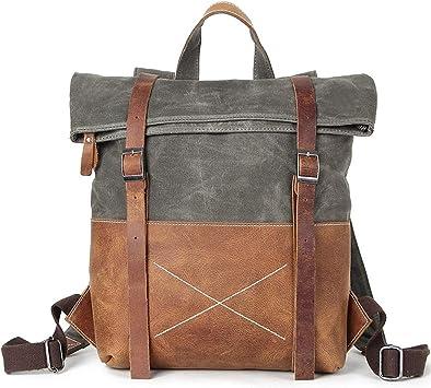 Mens Genuine Cowhide Leather Backpack Travel School Bag Satchel Handbag Rucksack