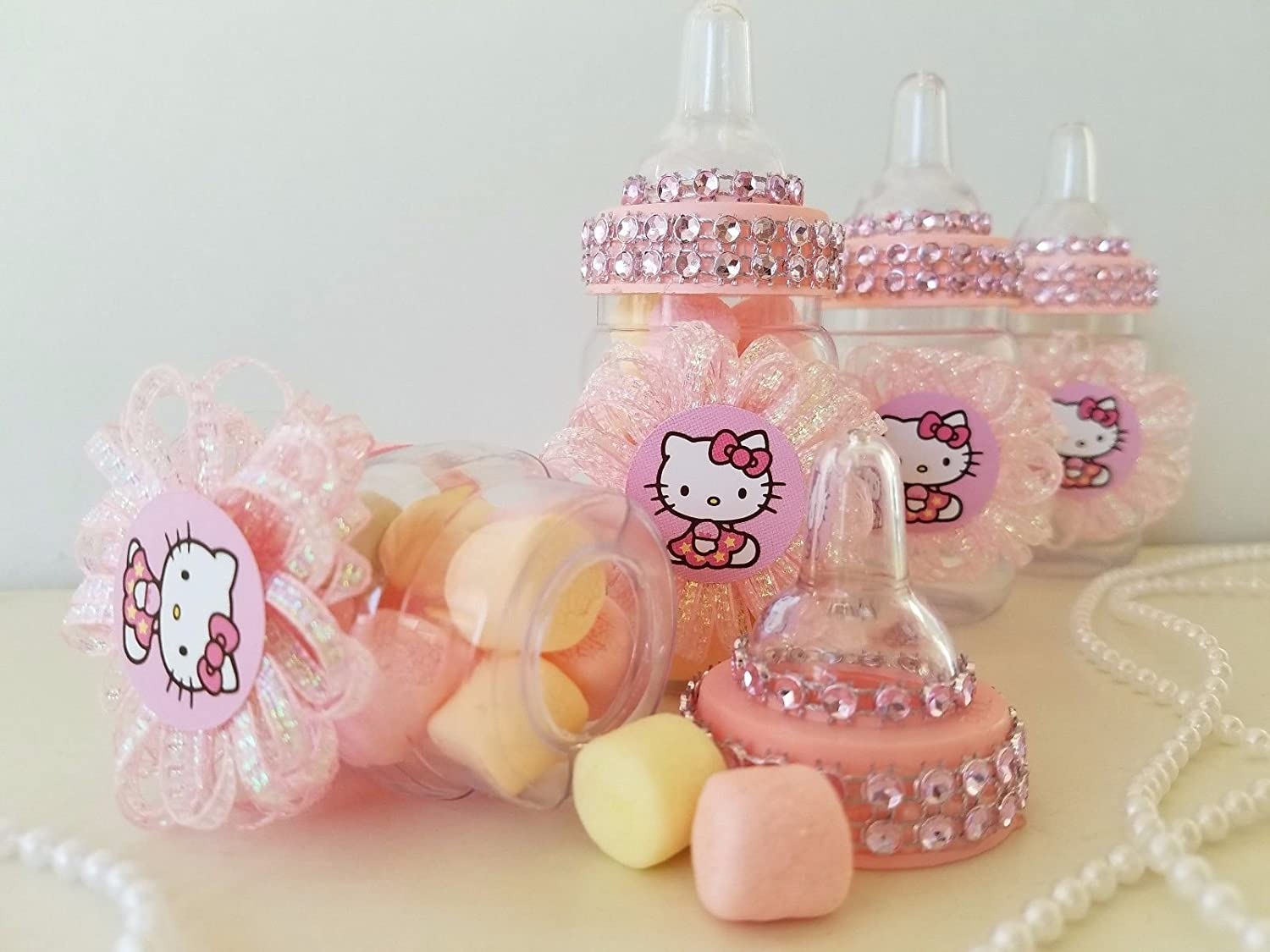cb7c06b04 ... 12 Hello Kitty Fillable Bottles Favors Prizes Games Baby Shower Girl  Decorations Product789