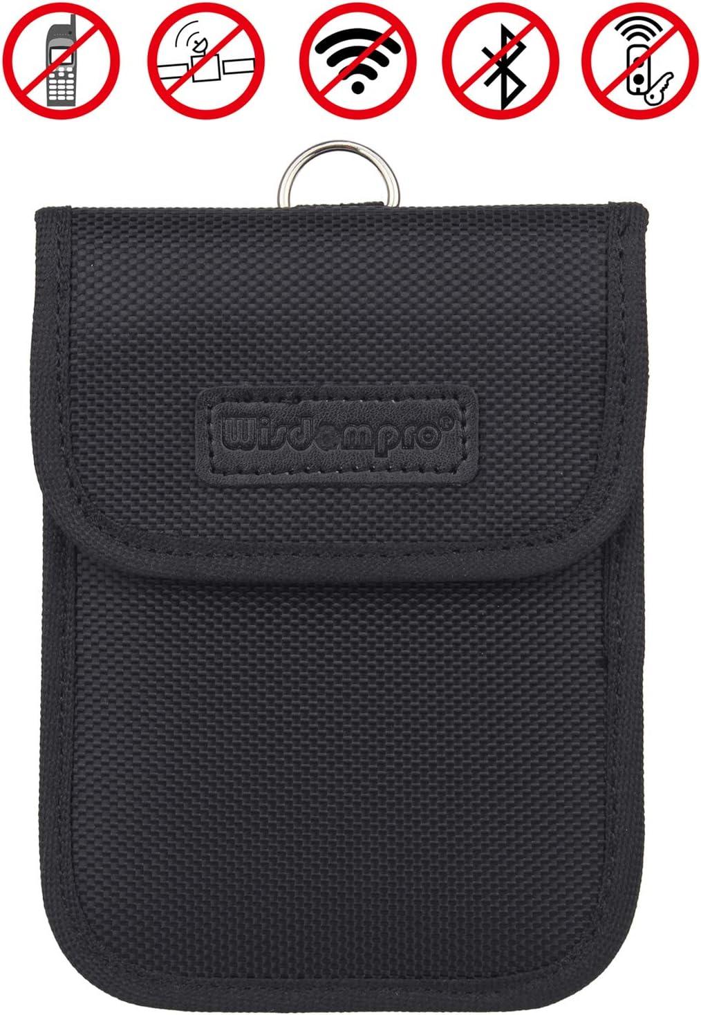 Faraday Bag for Key Fob, Wisdompro RFID Key Fob Protector RF Car Signal Blocking, Anti-Theft Pouch, Anti-Hacking Case Blocker - Black