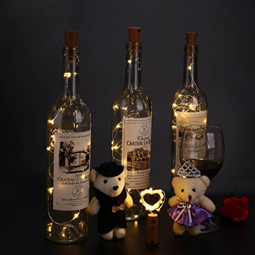 Qedertek 8 Pack Guirnalda Luces Led de Vino Botella, Cadenas Luces para Botella de Bricolaje, Cadena de Luz Micro de Alambre, Luz de cobre, Luz de tapón de ...