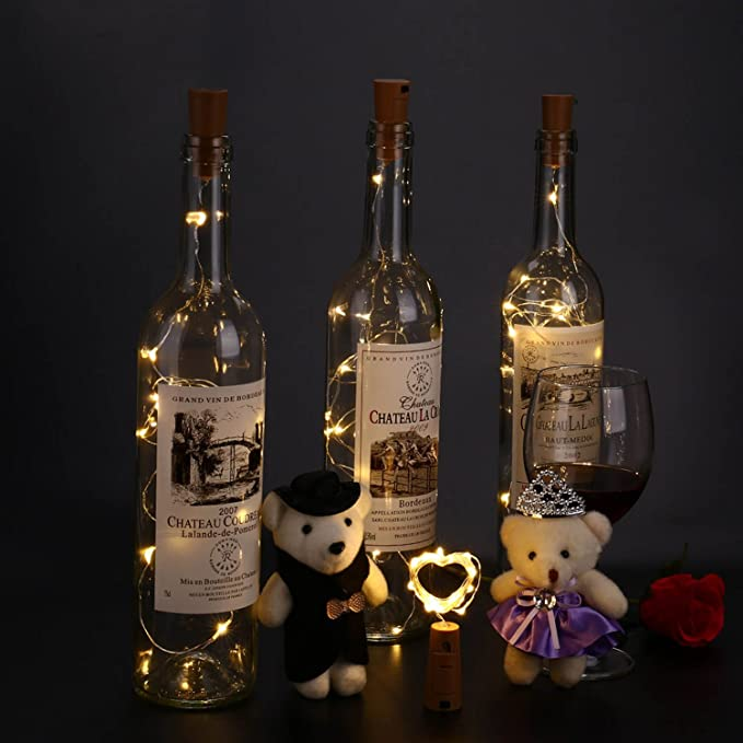Qedertek 8 Pack Guirnalda Luces Led de Vino Botella, Cadenas Luces para Botella de Bricolaje, Cadena de Luz Micro de Alambre, Luz de cobre, Luz de ...