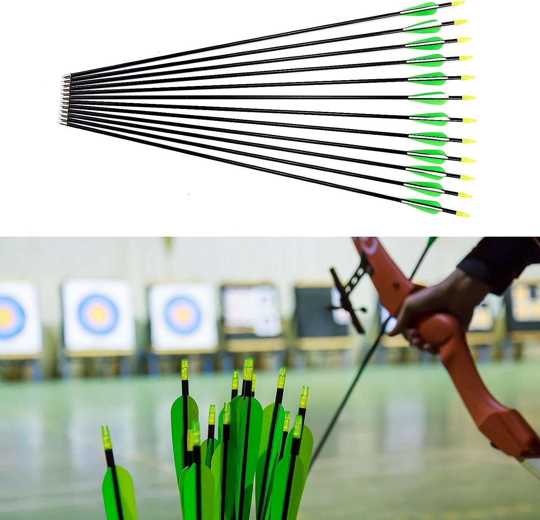Flechas de Fibra de Vidrio Carb/ón para Tiro con Arco Recurvo 3 Colores Elegible Verde y Blanco, 32//84cm Surepromise 12pcs 28//30//32 74cm//79cm//84cm