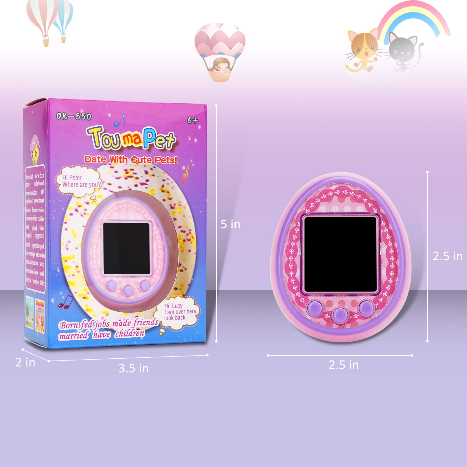 Virtual Digital Pets Toys Electronic Pets Game Machine HD Color Screen for Over 6 Years Old Child Toy 2019 New Version as a Best Birthday Gift for Boys Girls by Touma pets (Image #8)