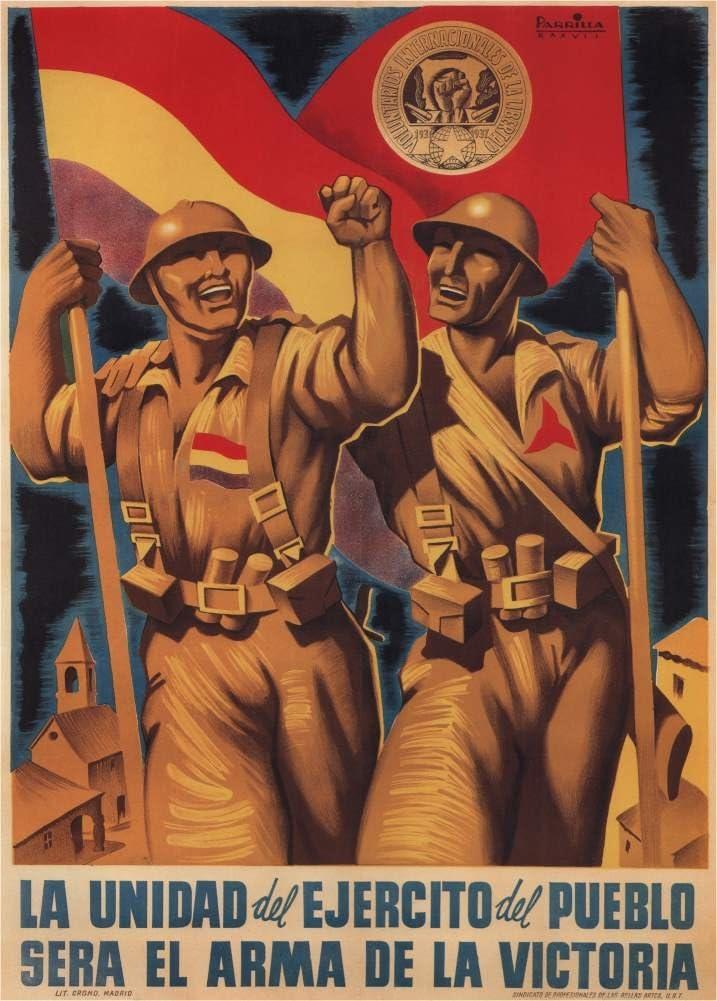 Envejecida guerra civil España 1936-39 propaganda LA unidad del ...