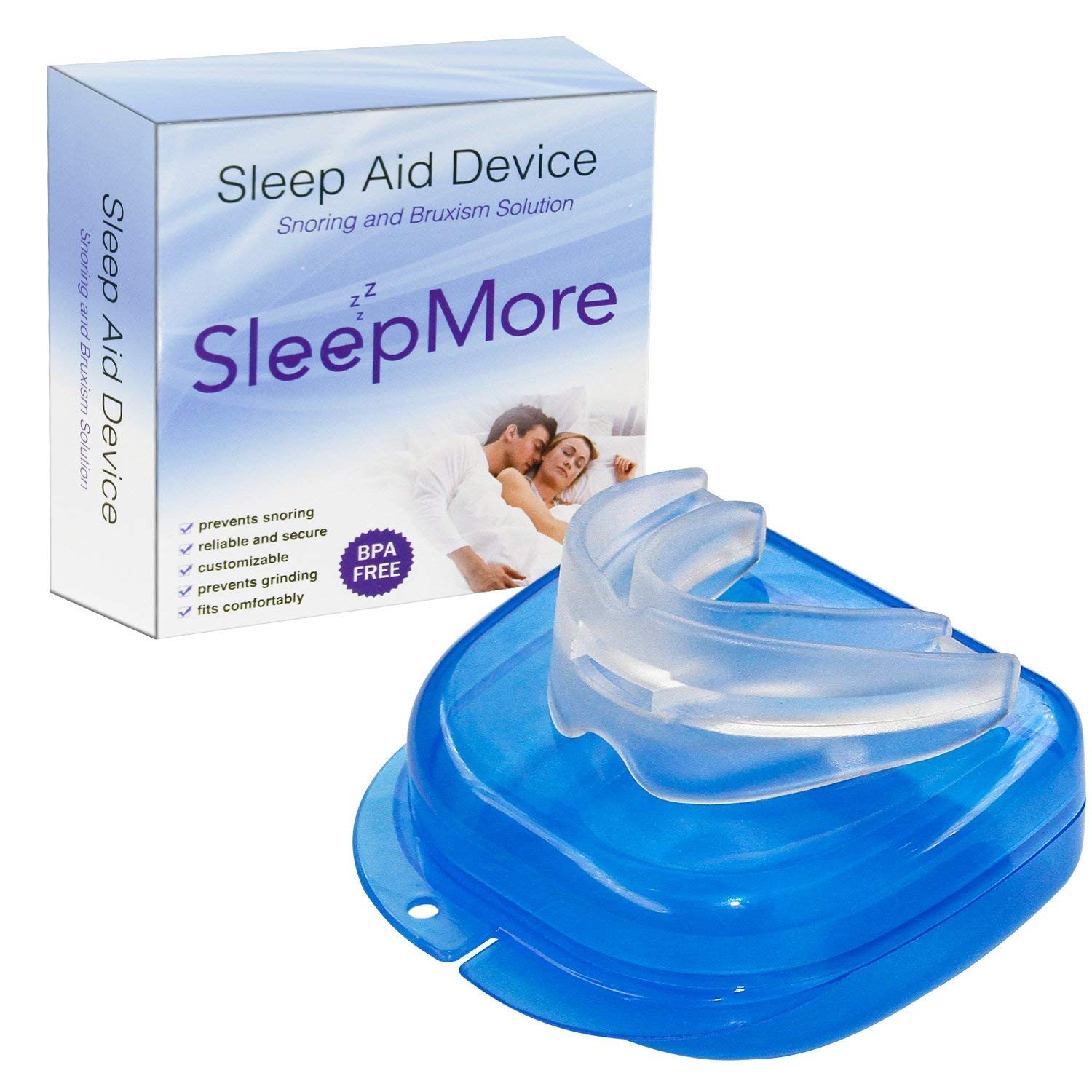 SleepMore Snore Stopper Mouthpiece-Snoring Solution Anti Snoring Devices, Sleep Aid Custom Fit Night Mouth Guard Bruxism and Snoring Solution by SleepMore (Image #1)