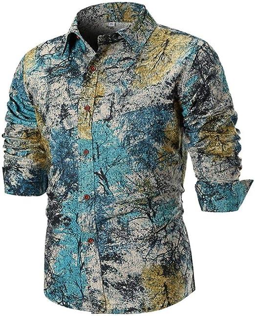 Qiusa Camisa de Lino para Hombre Hombres Manga Larga Top Casual ...