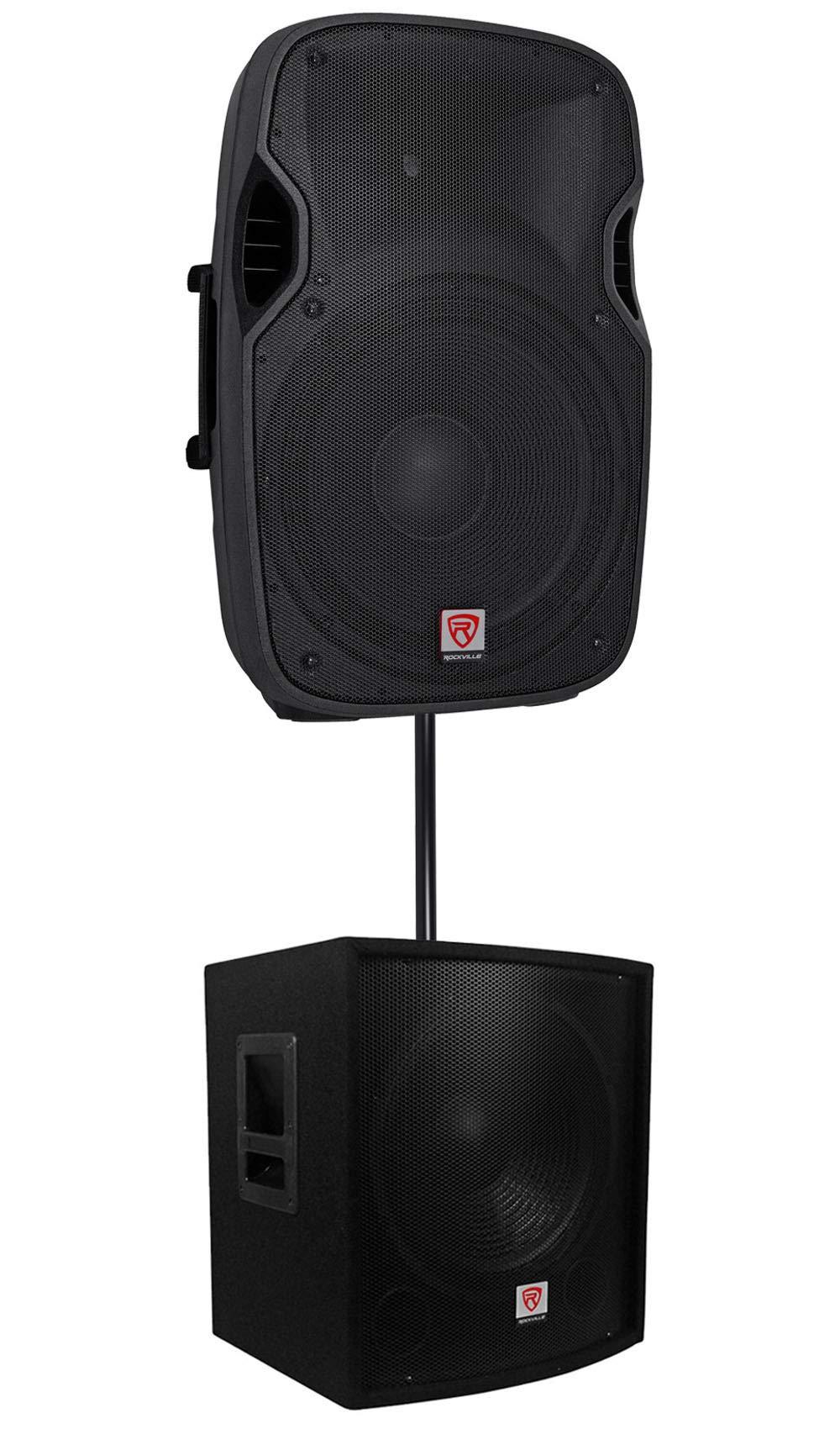 Rockville SPGN158 15'' Passive 8-Ohm 1600W DJ PA Speaker+Passive Sub+Pole Mount by Rockville