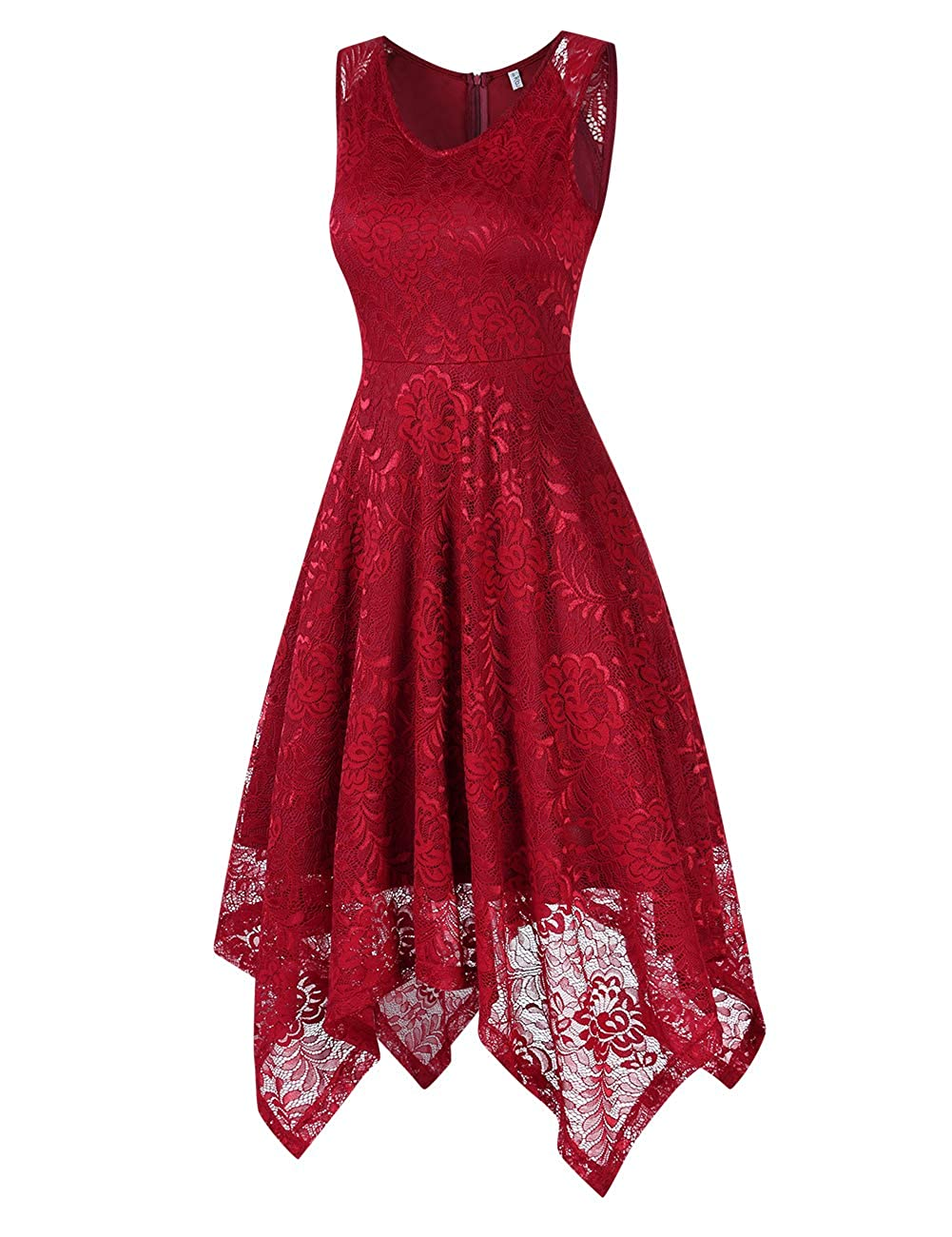 KOJOOIN Vestido C/óctel Vintage Hi-Lo Elegante Mujer Flor Encaje Vestidos de Fiesta