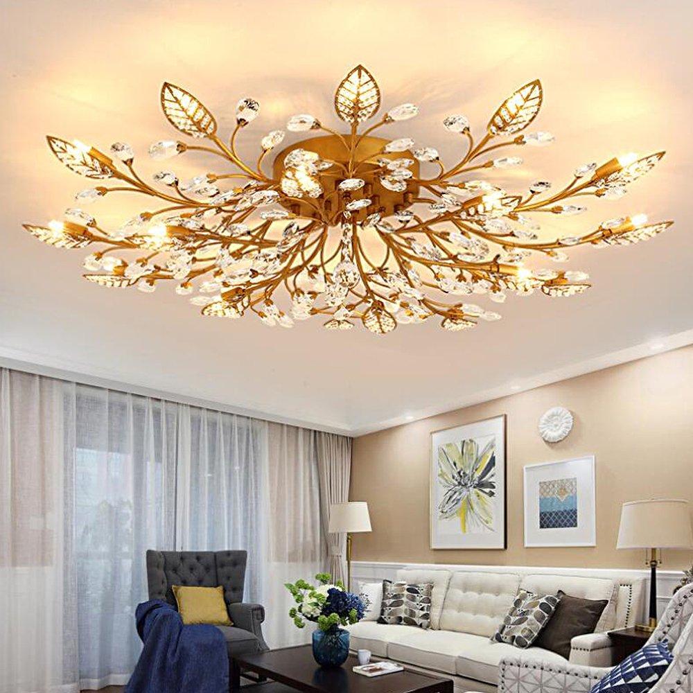 Diy familymodern crystal led ceiling lamp,leaf flush mount ceiling light fixture decorative crystal chandelier for dining room bedroom livingroom pendant