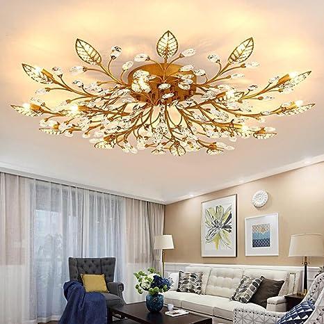 Diy Familymodern Crystal Led Ceiling Lamp Leaf Flush Mount Ceiling Light Fixture Decorative Crystal Chandelier For Dining Room Bedroom Livingroom