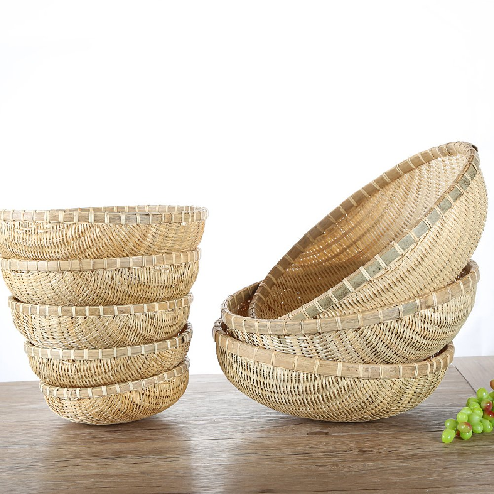 wellhouse Natural Bamboo Straw Woven Bread Roll Baskets Food Serving Baskets Fruits Storage Containers Draining Plate