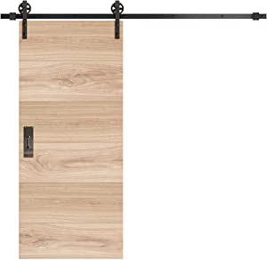 INDUSTRIAL BY DESIGN – 8ft Single Sliding Barn Door Hardware Kit (Spoke Wheel) – Ultra Quiet, Designers Choice, All Parts Included, Easy Installation with DIY Video Instructions