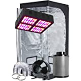 "TopoGrow LED Grow Tent Complete Kit LED 600W LED Grow Light Kit +32""X32""X63"" Indoor Grow Tent + 4"" Fan Filter Ducting Combo H"