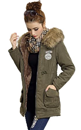 Meloo Mantel Damen mit Pelz kapuze Lady fit Wintermantel Parka Jacke warm 50a4f45ad6