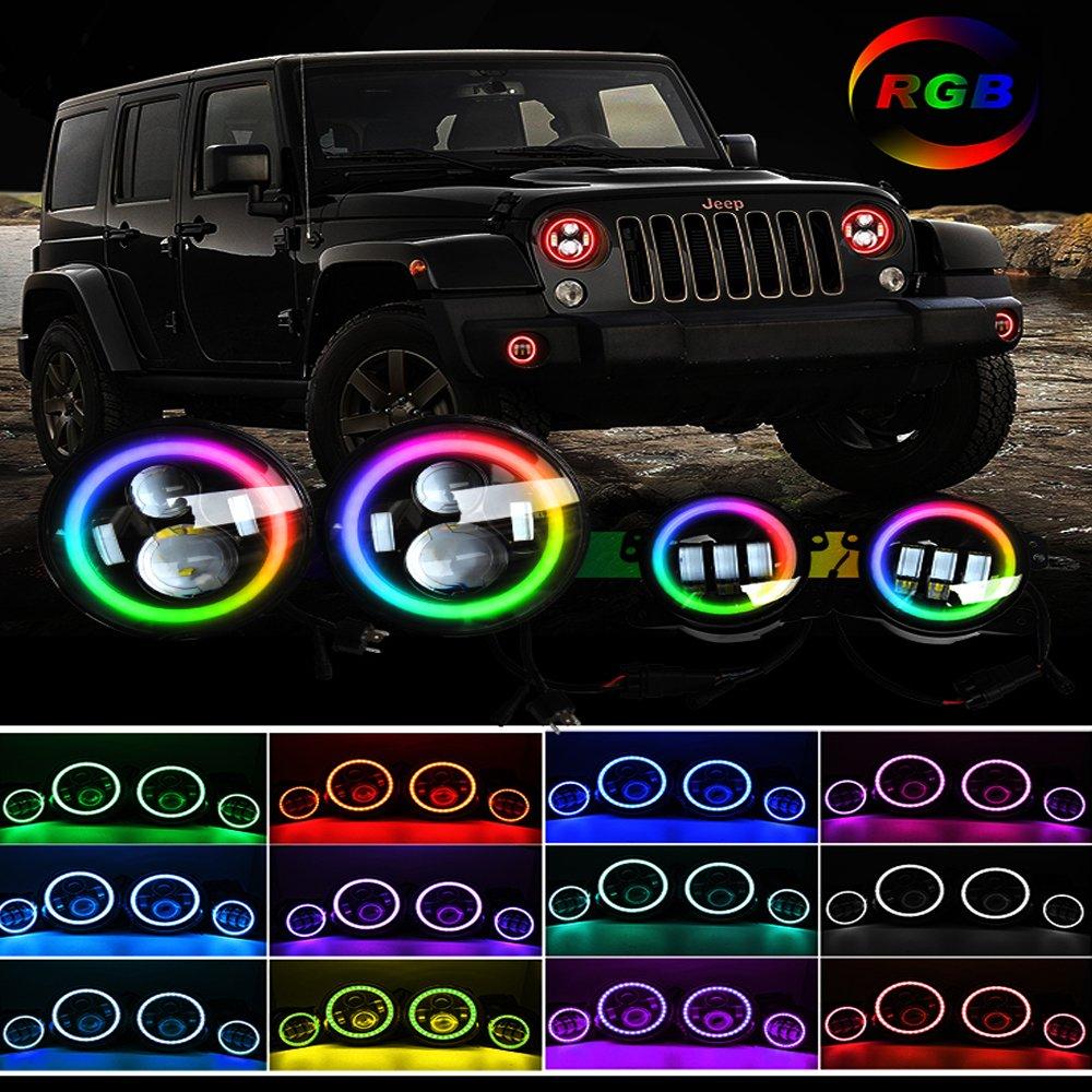 Rgb Led Headlight Angel Eye Fog Light For 07 17 Jeep Jk Cj Front Bumper Lamp