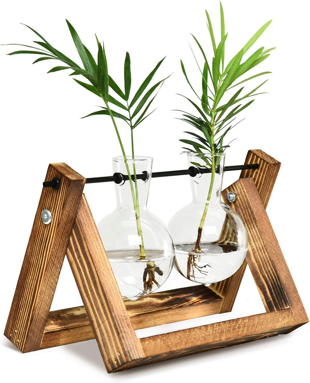 Vumdua Plant Propagation Stations, Desktop Glass Planter Bulb Vase with Solid Wooden Stand and Metal Swivel Holder for Hydroponics Plants Home Garden Decor