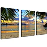 """Amazon Price History for:Wall Art Beach Sunset Canvas Artwork Tropical Ocean Palm Tree Leaf Beach Coast, Large 3 Pieces x 20"""" x 30"""" Canvas Art Nature Pictures Seascape for Living Room Bedroom Wall Decor Home Decorations"""