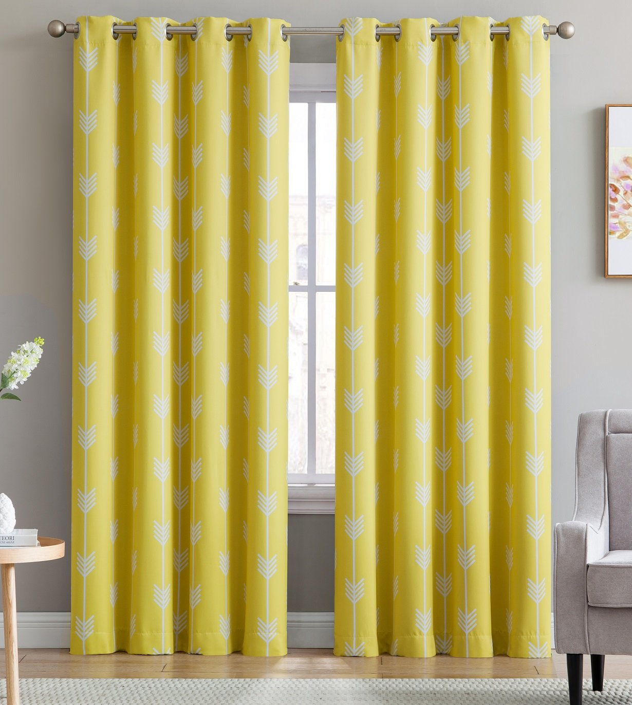 HLC.ME Arrow Printed Blackout Room Darkening Thermal Grommet Window Curtain Drape Panels for Living Room - Set of 2 - Bright Yellow