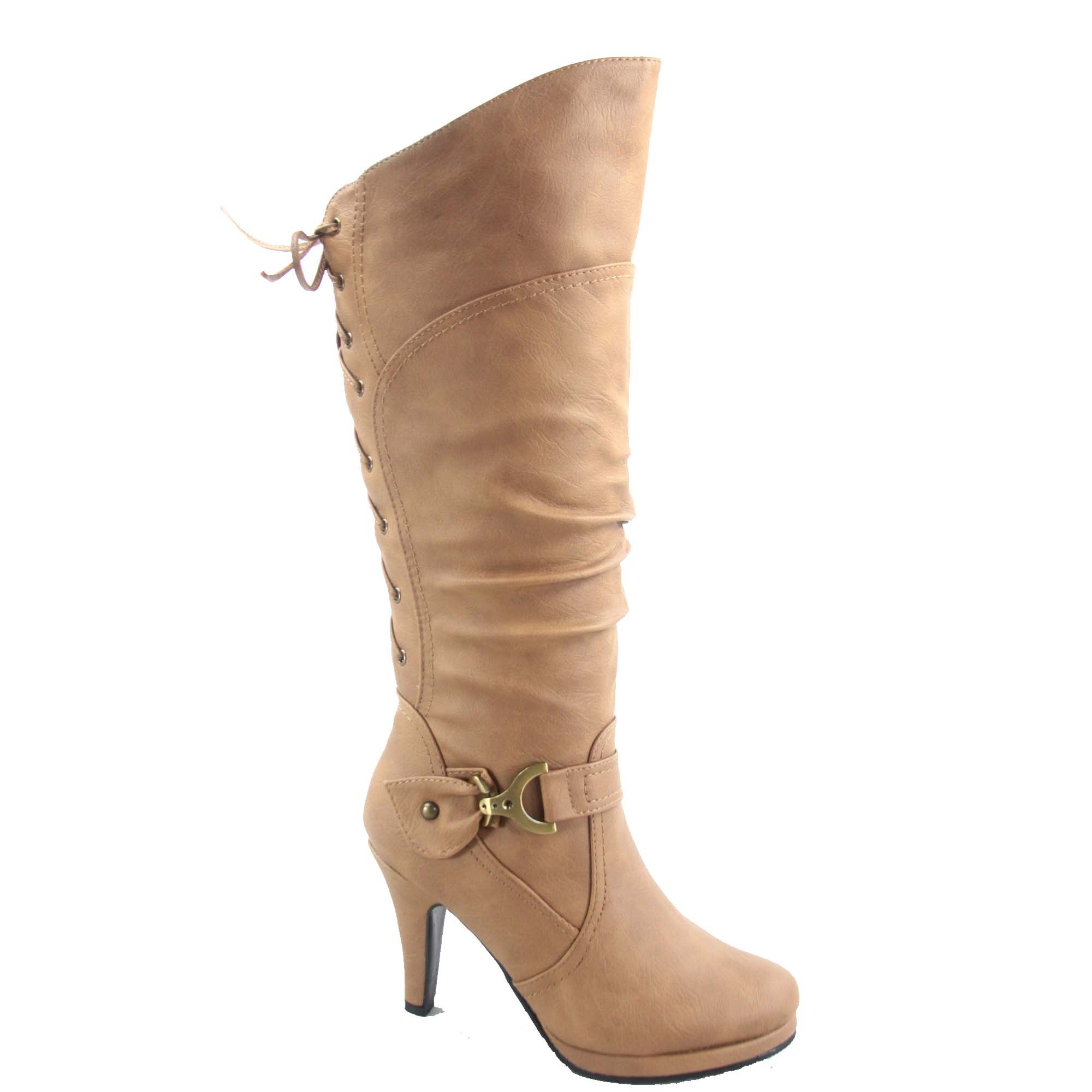 Top Moda Page-65 Women's Sexy Back Lace up Side Zipper Low Heel Platform Knee High Boots Shoes (6, Taupe)