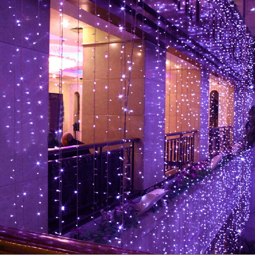 8つのモードの選択3m X 8m 800 LED屋内/屋外パーティークリスマスXmas文字列妖精のウェディングカーテンライト (パープル) B014BLMGT6 パープル パープル