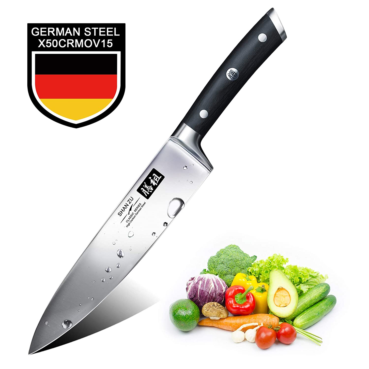 Chef Knife,SHAN ZU Pro Kitchen Knife 8 Inch High Carbon German Stainless Steel Cooking Knife with Ergonomic Handle and Sheath, Rust Free and Wear Resistant, Perfect for Kitchen Home Restaurant