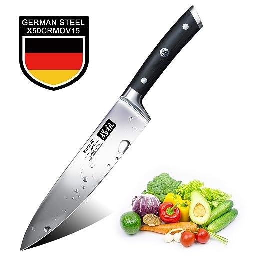 SHAN ZU Cuchillos de Cocina Profesionales, Cuchillo Chef 20cm, 8 Pulgadas Cuchillo de Cocinero de Acero Inoxidable Alemán, Hoja Durable y Afilada para ...