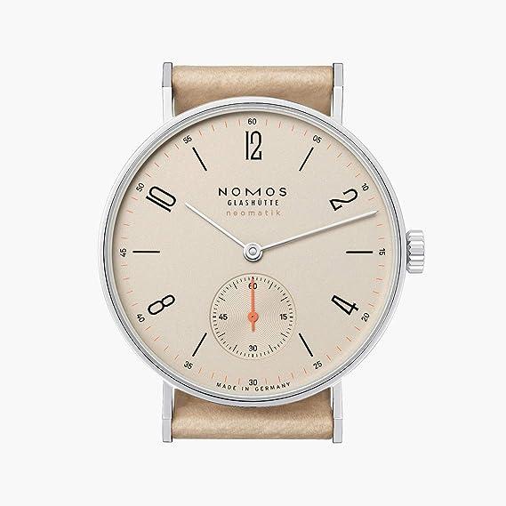 Nomos Glashuette tangente de la mujer 35 mm Beige piel banda reloj automático 176