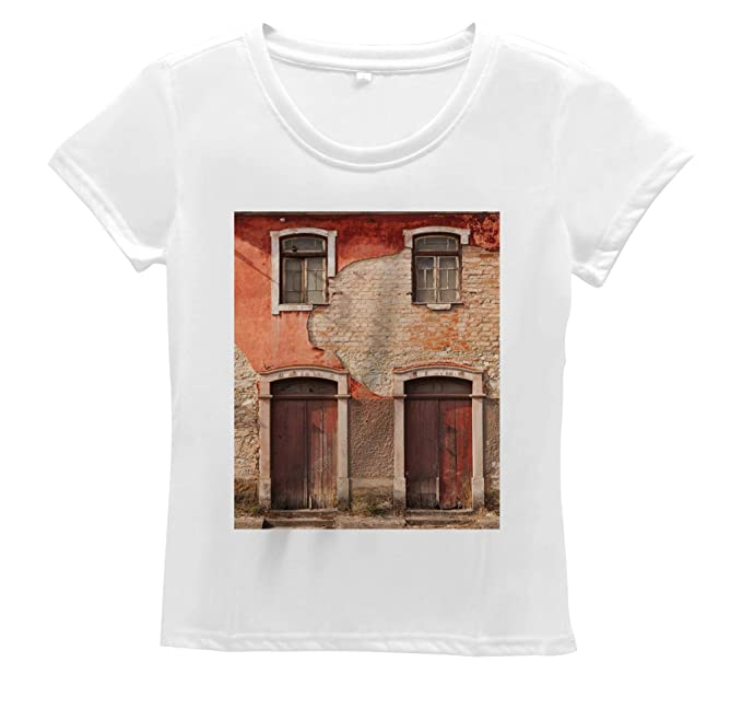 Lunarable Rustic Women's T Shirt, Old Facade with Wood