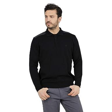 BURATTI Cuello Polo Jersey para HOMBRE Suéter 447084/M/Negro ...