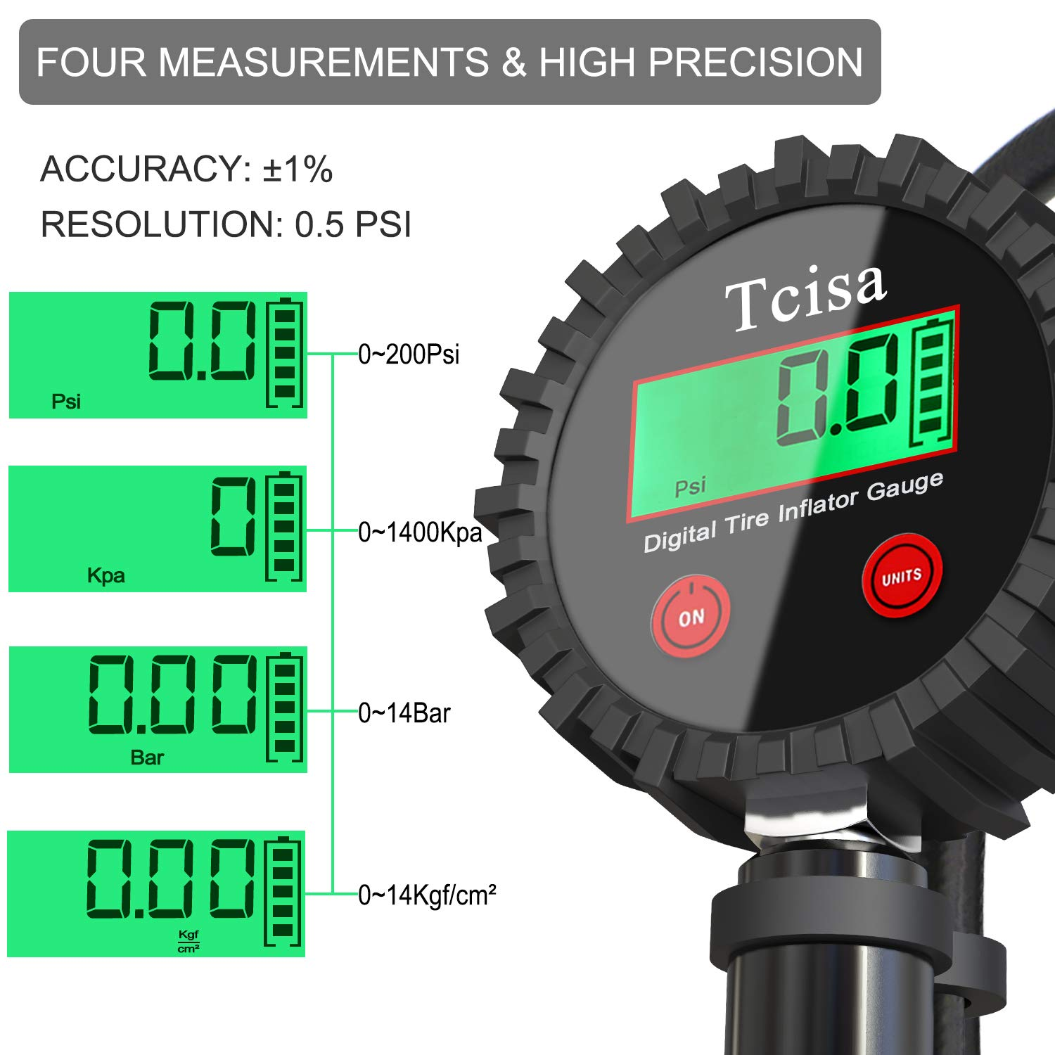 Tcisa Tire Inflator with Pressure Gauge - Digital Heavy Duty 200 PSI Air Pressure Gauge with Leakproof Air Chuck Valve Extender Rubber Air Hose Quick-Connect Fitting by Tcisa (Image #2)