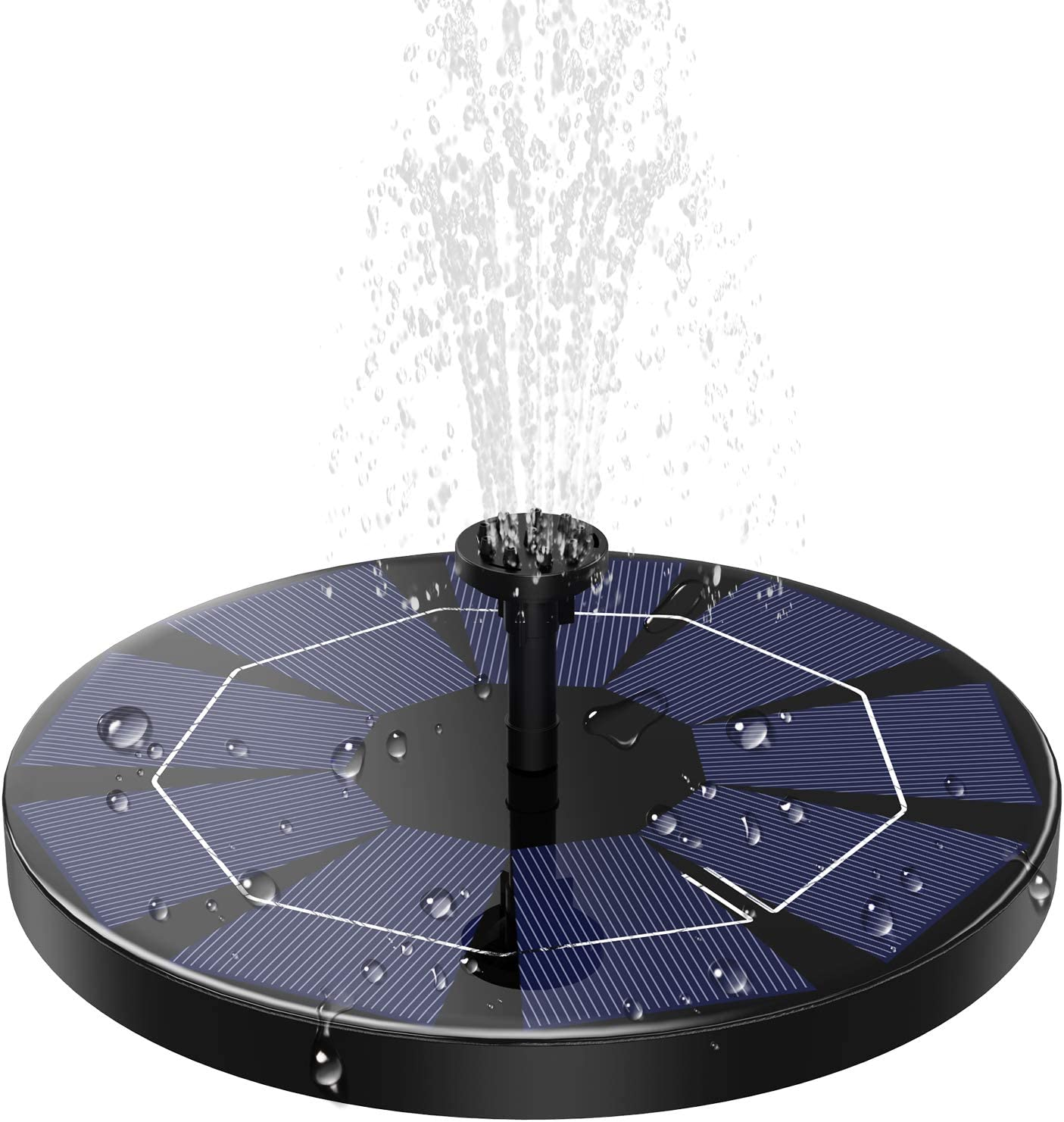 AD ADTRIP 3.0W Solar Fountain for Bird Bath with 1200mAh Battery Backup, Solar Powered Fountain Pump Solar Bird Bath Fountains for Outdoor, Garden, Small Pond, Pool with 6 Nozzles