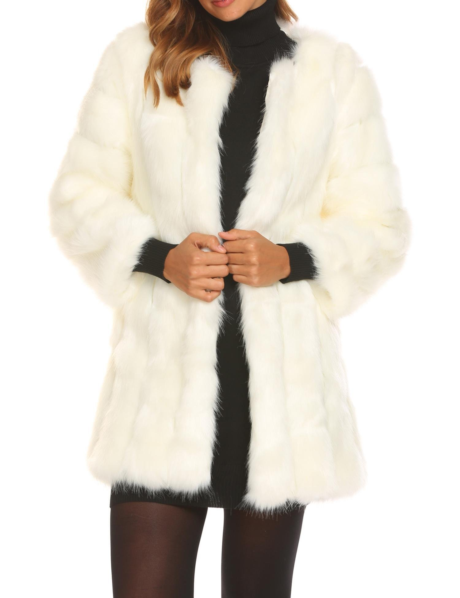 Soteer Women's Faux Fur Coat Winter Warm Fur Jacket Outerwear Midi Length White M