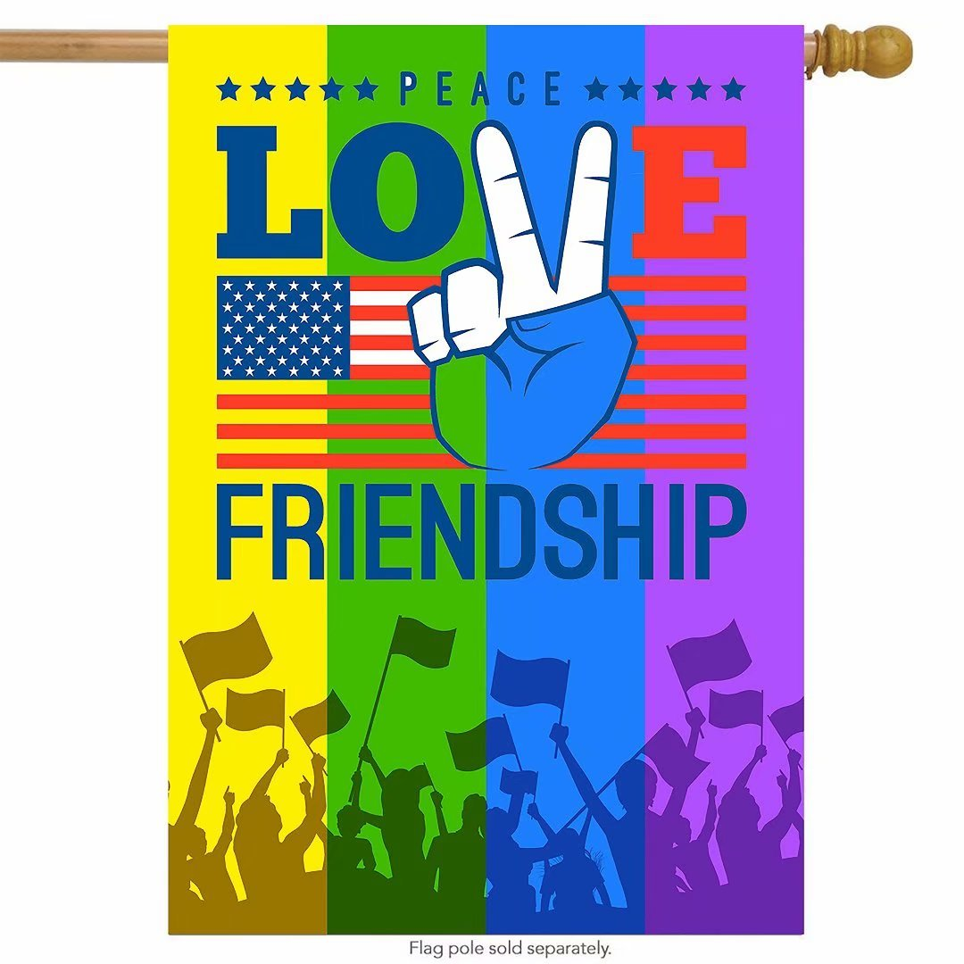 ShineSnow American Flag Love Peace Rainbow House Flag 28'' x 40'' Double Sided, Finger Polyester Welcome Yard Garden Flag Banners for Patio Lawn Home Outdoor Decor