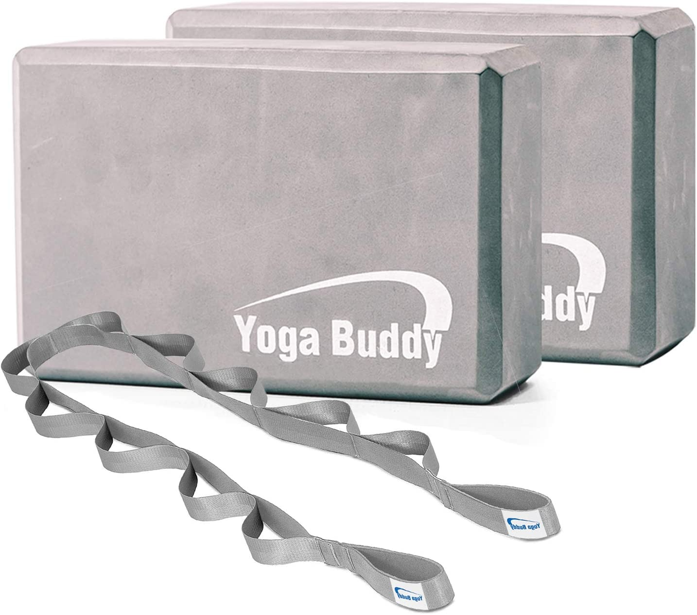 Amazon Com Roller Buddy Yoga Block Stretch Out Strap Set Yoga Blocks 2 Pack With Physical Therapy Equipment Stretch Band Yoga Bands Yoga Accessories Sports Outdoors