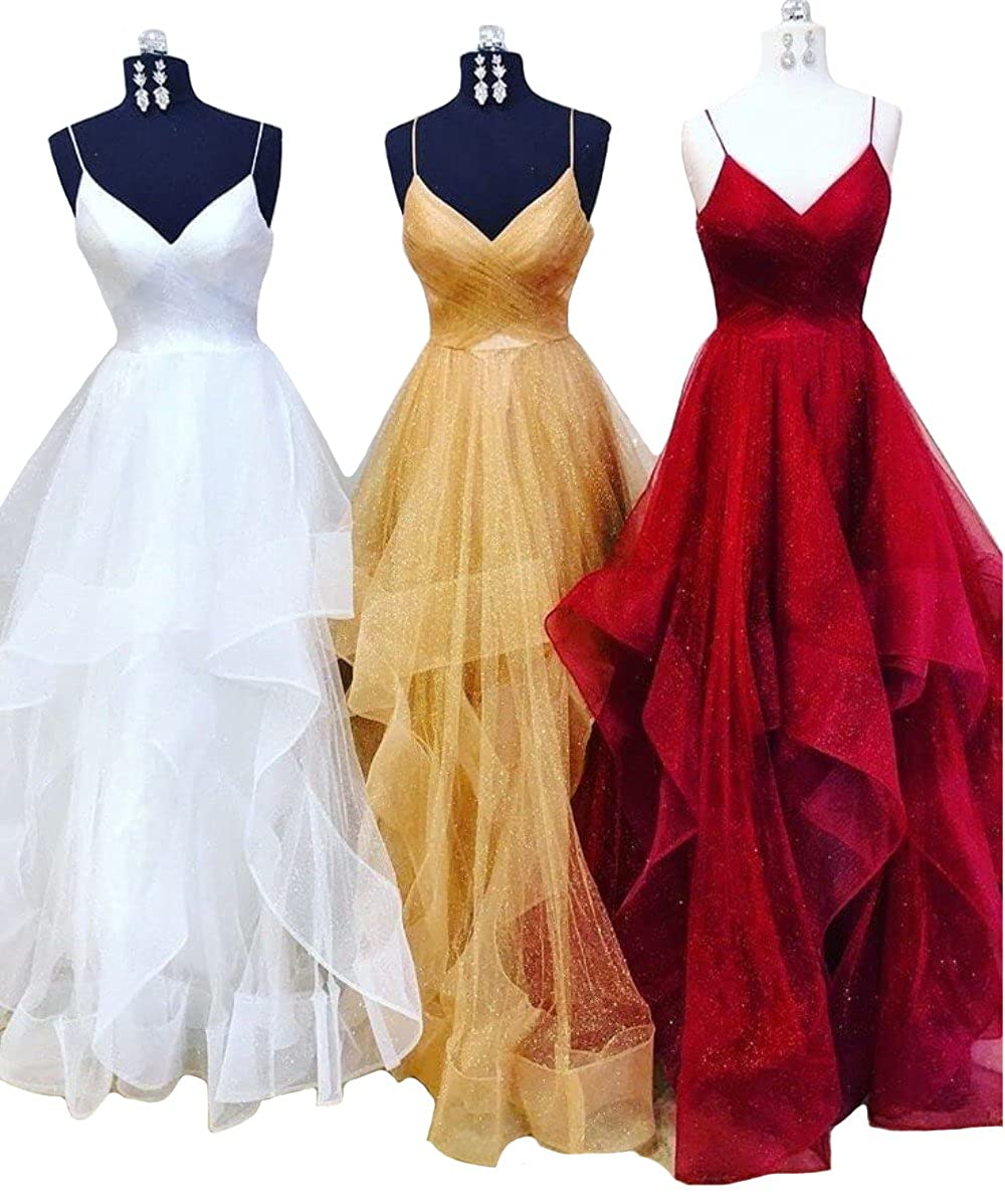 28540928bf3 FTBY Spaghetti Strap Long Prom Dresses Layered Ruffles Tulle Evening Dress  Formal Ball Gowns 2019 for Womens at Amazon Women s Clothing store