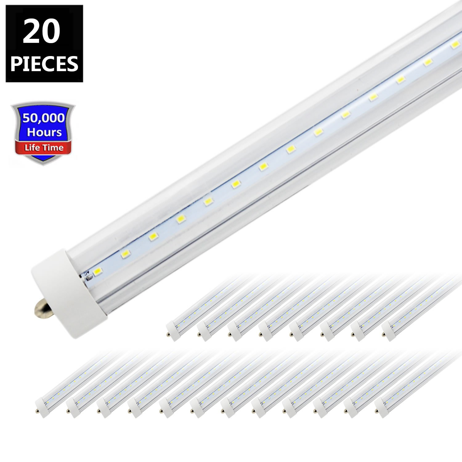 T8/T10/T12 8FT LED Tube Light, JESLED 96'' Single Pin FA8 Base,8 Foot LED Fluorescent Bulbs, Clear Cover, Dual-Ended Power ( Ballast Removal, 20-Pack)