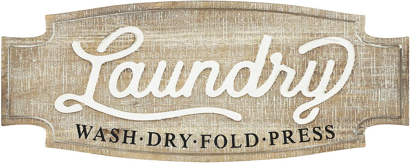 Large Laundry Sign Rustic Carved Wood Wall Decor, Vintage Laundry Room Decor Farmhouse Wall Hanging Signs Decoration Funny Housewarming Gifts Wall Art, 23.6 x 9.5 inch