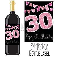 Eternal Design 30th Birthday Bottle Label Wine Gift....Pink Glitter