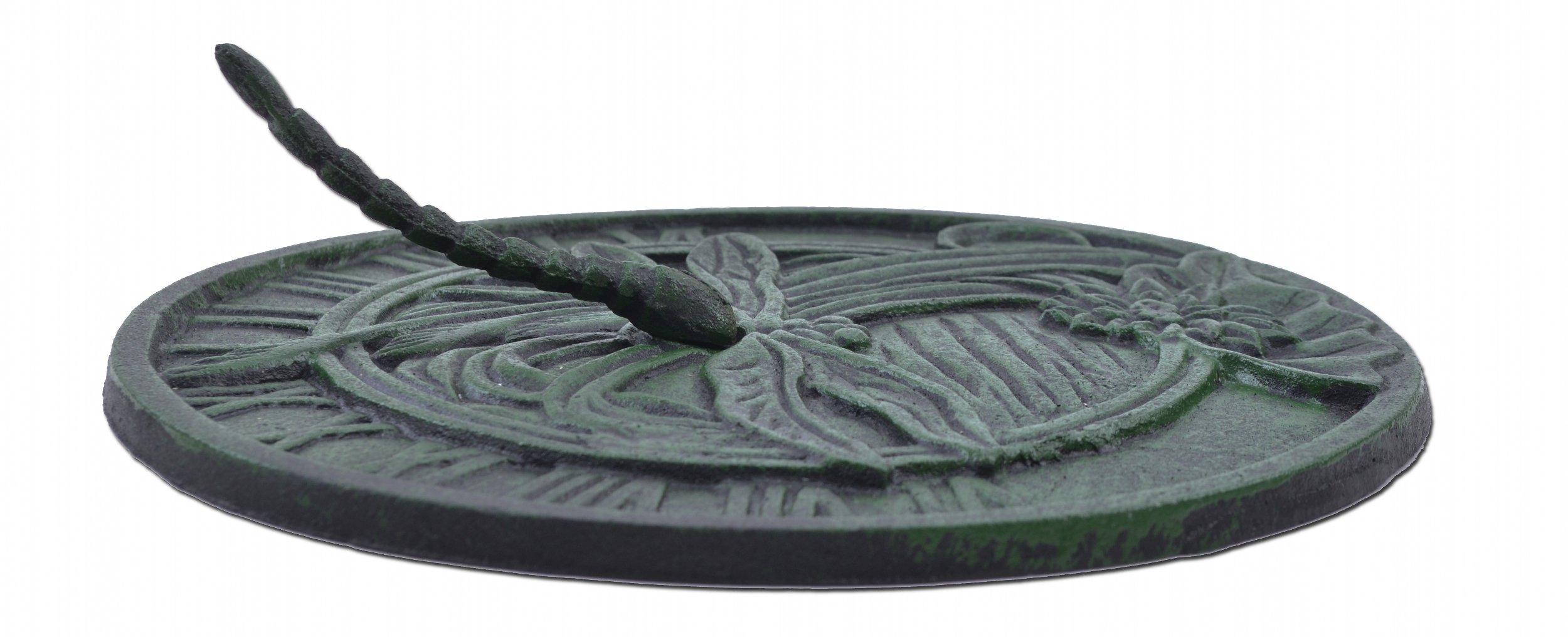 Import Wholesales Sundial Decorative Dragonfly Garden Plaque Green 9.75'' Wide