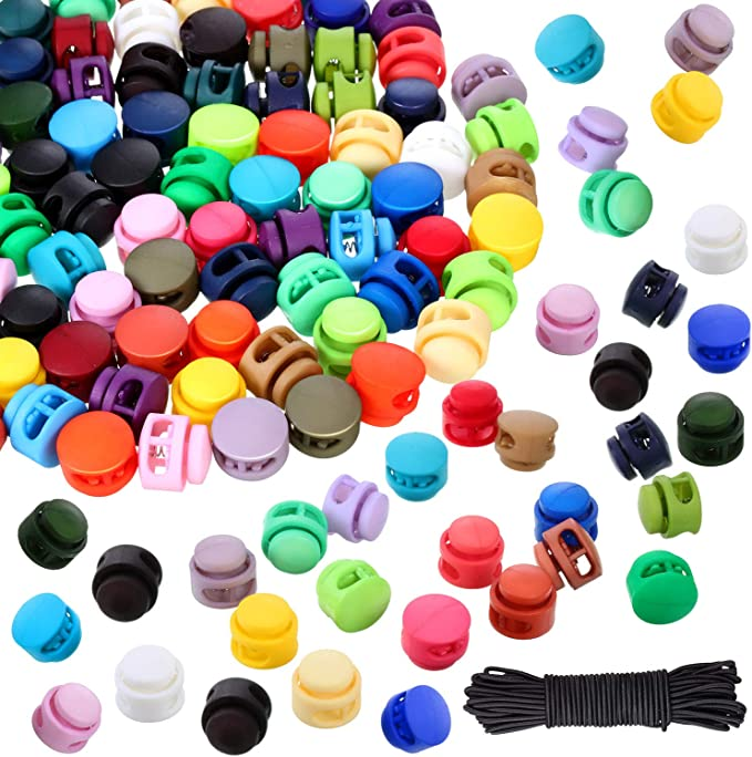 100 Pcs Resin Spring Cord Lock End Round Toggle Stoppers Single Hole Spring Stopper Slider for Camping Hiking Shoelace Replacement Random Color Sports Backpacks