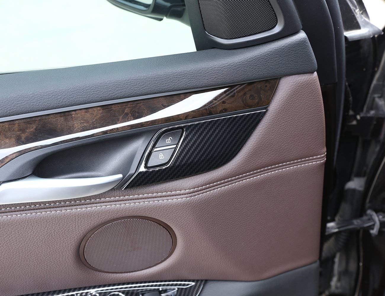 Carbon Fiber Safety Door Lock Cover Sequin Trim For BMW X5 F15 X6 F16 2014-2018