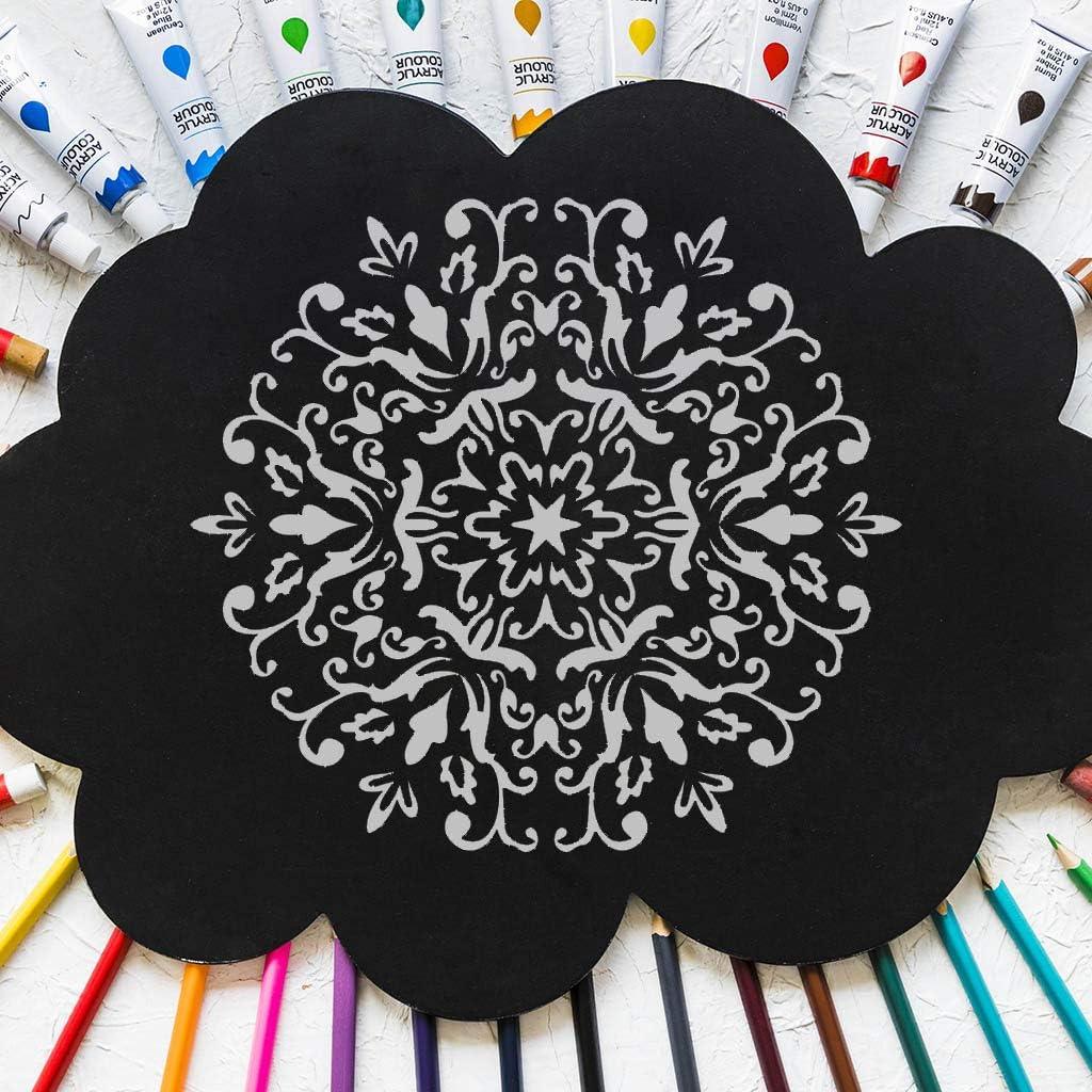 Sichuan 6pcs Set Plantilla de Dibujo de Mandala Plantilla de Pared Pintura en Relieve para Piso de Madera