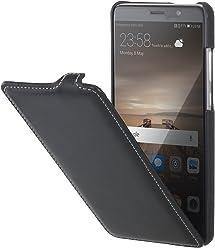 StilGut UltraSlim, housse Huawei Mate 9 en cuir. Etui de protection à ouverture verticale et fermeture clipsée en cuir véritable, Noir Nappa